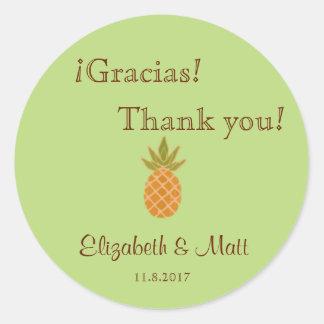 Zweisprachige Ananas-Hochzeit danken Ihnen Runde Sticker