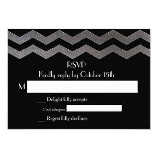 Zweisprachige silberne NachtZickzack Hochzeit UAWG Individuelle Ankündigungskarte
