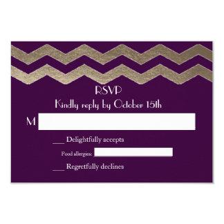 Zweisprachiger Goldschimmer-Zickzack Hochzeit UAWG Einladungskarte
