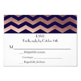 Zweisprachiges Chic-Rosen-GoldZickzack Hochzeit 8,9 X 12,7 Cm Einladungskarte