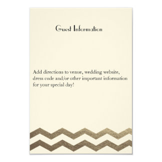 Zweisprachiges Gold Ecru Zickzack Wedding Individuelle Einladungskarten