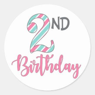 Zweite Geburtstags-Party-Aufkleber Runder Aufkleber