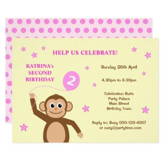 Zweite Geburtstags-Party Einladung des niedlichen