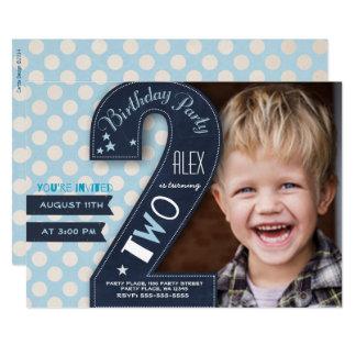 Zweite Geburtstags-Party Einladungs-Jungen-Tafel 12,7 X 17,8 Cm Einladungskarte