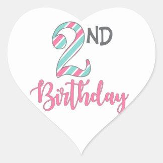 Zweite Geburtstags-Party-Herz-Aufkleber Herz-Aufkleber