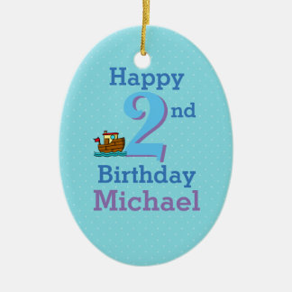 Zweiter Geburtstag, zwei Jährige, Boot und Name Keramik Ornament
