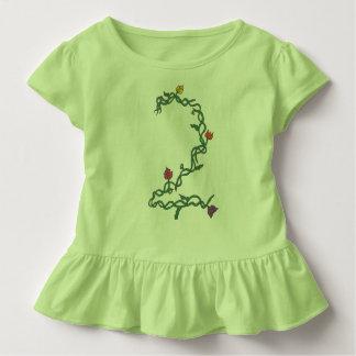 Zweiter Geburtstags-Blumenkleinkind-Rüsche-T-Stück Kleinkind T-shirt
