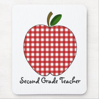 Zweiter Grad-Lehrer-roter Gingham Apple Mauspad