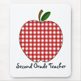Zweiter Grad-Lehrer-roter Gingham Apple Mousepad