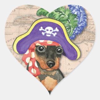 Zwergpinscher-Pirat Herz-Aufkleber