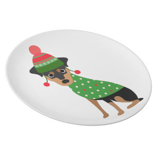 Zwergpinscher-Weihnachtsplatte Teller