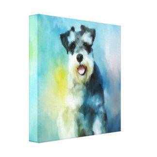 Zwergschnauzer-Hundewasser-Farbkunst-Malerei Leinwanddruck