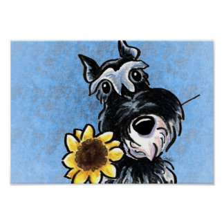 Zwergschnauzer-Sonnenblume blaue Weg-Leine Art™ Poster