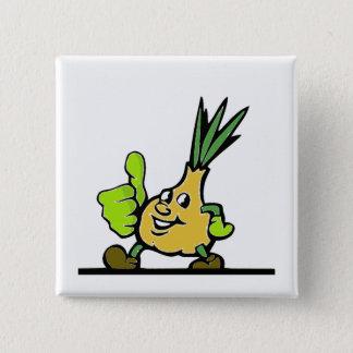 Zwiebel mit den Daumen oben Quadratischer Button 5,1 Cm