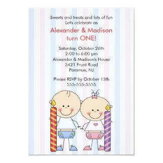 Zwillings-1. Geburtstags-Einladungs-Mädchen u. 12,7 X 17,8 Cm Einladungskarte