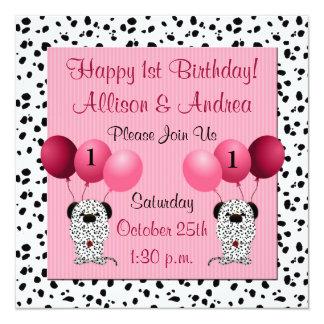 Zwillings-1. Geburtstags-Party Einladungs-Rosa Quadratische 13,3 Cm Einladungskarte