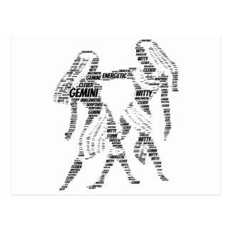 Zwillings-Astrologie-Tierkreis-Zeichen-Wort-Wolke Postkarten