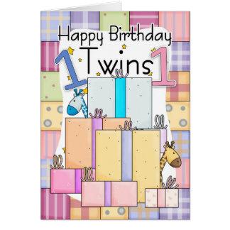 Zwillings-erste Geburtstags-Karte - Geschenke Grußkarte