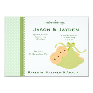 Zwillings-Geburts-Mitteilung 12,7 X 17,8 Cm Einladungskarte