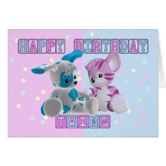 Zwillings-Geburtstags-Karte - Rosa und Blau Grußkarte