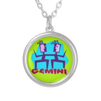 Zwillings-Horoskop-Tierkreis-Zeichen-Halskette Versilberte Kette