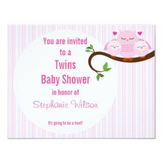 Zwillings-rosa Eulen ein Schrei einer Babyparty 10,8 X 14 Cm Einladungskarte