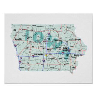 Zwischenstaatlicher Karten-Druck Iowas Poster