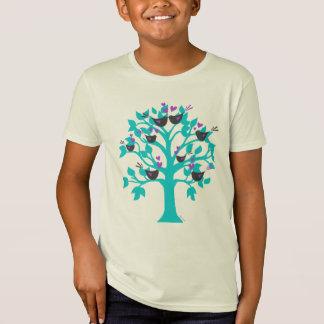 zwitschernde Liebeherzen der Lovebirds im Baum des T-Shirt