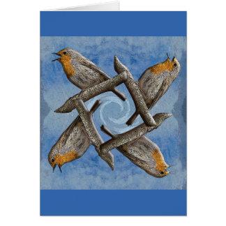 Zwölf Tage Weihnachten - vier nennende Vögel Karte