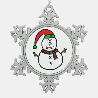 Zyklopesnowman-niedliche Schneeflocken Zinn-Ornament