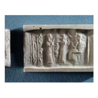 Zylinder-Siegel, das eine Hervorrufung zu Postkarte