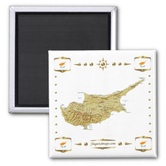 Zypern-Karte + Flaggen-Magnet Quadratischer Magnet