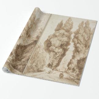 Zypresse-Allee an Landhaus d Este Tivoli durch Geschenkpapier