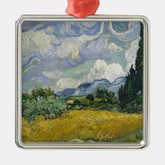 Zypresse-Waldung und Weizen-Feld Quadratisches Silberfarbenes Ornament