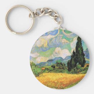 Zypressen des Van- Goghweizen-Feld-w bei Haute Schlüsselanhänger
