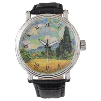 Zypressen des Van- Goghweizen-Feld-w bei Haute Uhr